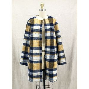 CYNTHIA ROWLEY Madras Plaid Boiled Wool Car Coat